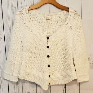 Free People White Chunky Knit Sweater Cardigan L